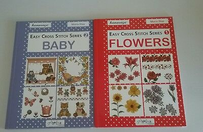 2 Cross Stitch Books By Maria Diaz - Flowers And Baby - New