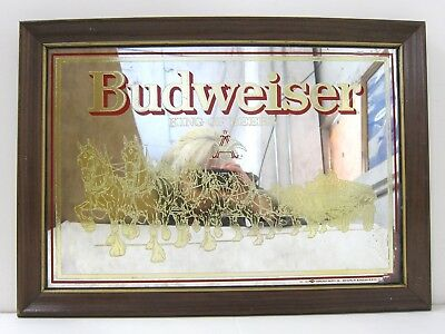 BUDWEISER Clydesdales VTG Framed King of Beers Pub Bar Foil Wall Mirror 15x21