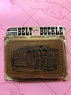Vintage San Francisco Genuine Leather Belt Buckle Cable Car