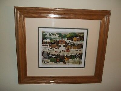 Blossom River Junction Framed Winter Xmas Print by Charles Wysocki Americana Art