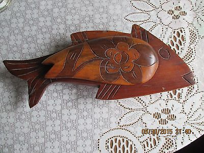 Vintage wooden Fish with lid trinket box