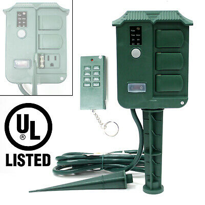 6 Outlet UL LISTED Outdoor Yard Stake Remote Control Light Sensor Digital Timer