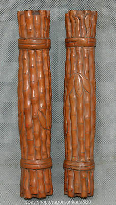 "8 ""Ancient Chinese wood Dynasty Hand Carved bamboo Study Tool Paper Weight Pair"