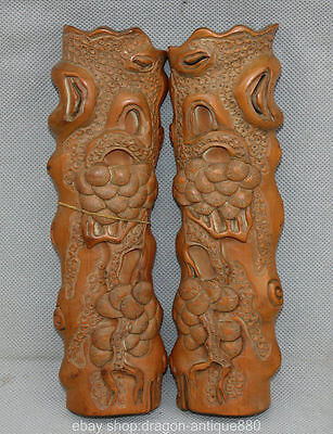 "8 ""Ancient China wood Dynasty Hand Carved Pine Tree Study Tool Paper Weight Pair"