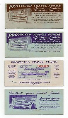 """4 AMERICAN EXPRESS TRAVELERS CHEQUES Ink Blotters - 2½""""x5¾"""", 1940's, 3 Exc Cond"""