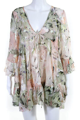a8f2888a59 Alice McCall Womens Long Sleeve A-Line Above Knee Dress Pink Green Silk  Size 4
