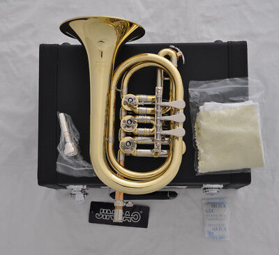 Professional JinBao Bb Gold lacquer Rotary valve cornet horn with leather case