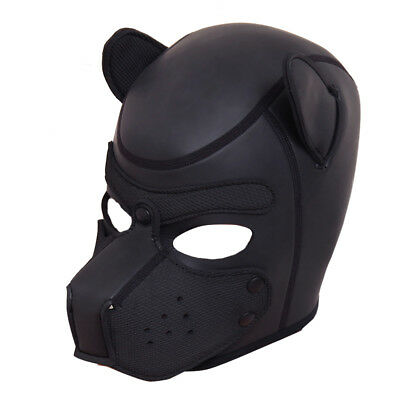 4 Color Cosplay Role Play Dog Full Head Mask Padded Latex Rubber Puppy & Ears