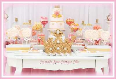 Princess Party / Girls Birthday, Sweet / Dessert Table Gold Crown Decor
