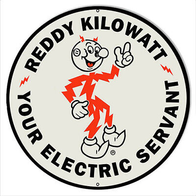 Reddy Kilowat Reproduction Nostalgic Metal Sign 24x24 Round