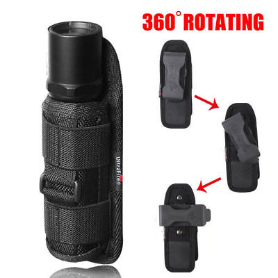 Tactical Flashlight Pouch Holster Torch Case 360 Degrees Rotatable Light Holder