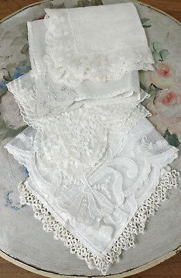 Lot White Wedding Handkerchiefs Lace Net Lace Floral Bow Tatting Maderia Hankies