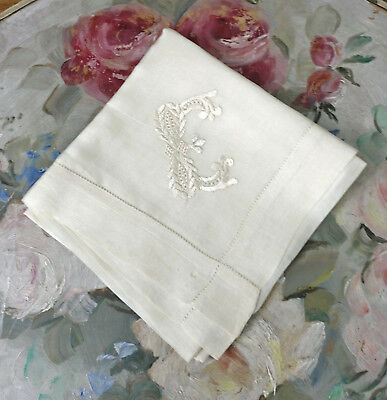 Antique Ivory Silk Hanky Monogram Initial E Embroidered Handkerchief Vintage