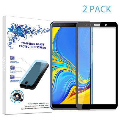 2X For Samsung Galaxy A7 2018 Full Cover Tempered Glass Screen Protector -Black
