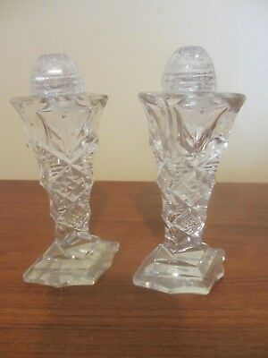 Vintage Crystal Clear Cut Glass Salt and Pepper Shaker Set Screw Caps