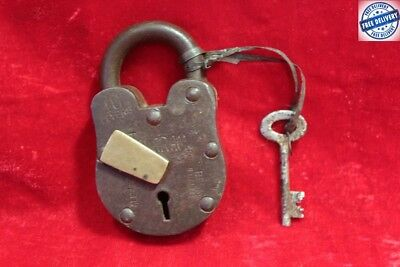 1900's Old Vintage Antique Rare Iron Brass Lock and Key Collectible BC76