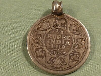 Pumtek Strand India  Silver  Rupee Coin Heirloom Bead 23.6 By 5.3 Mm Date 1919 !