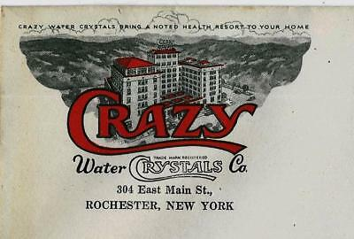 1930s Crazy Water Crystals Co Rochester NY (3) Unused Envelopes w Color Graphics