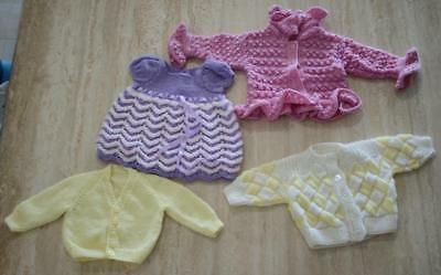 Lot 4 Hand Knitted Unisex Baby Outfits Mauve Dress Pink & Yellow Cardigans KC356