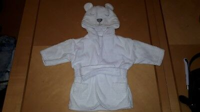 Baby Boys Girls White Hooded Teddy Dressing Gown Age 0-3 Months