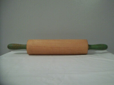 """Vintage Wooden Rolling Pin With Worn Green Handles 17 1/4"""" Long Overall"""