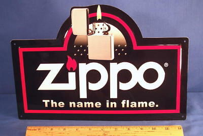 Vintage ZIPPO LIGHTER TOBACCO Metal Store Display Sign 1990s Limited Edition