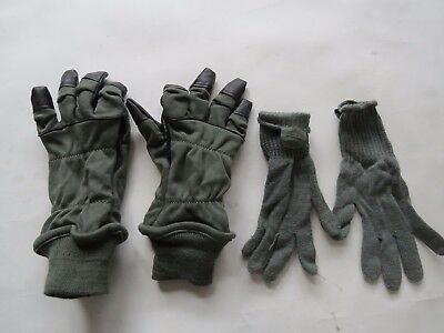 US Army military CW insert Type II Cold Flyers 9 M green black gloves