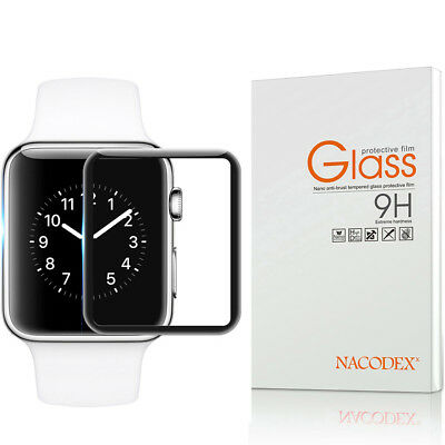 NX For Apple watch4 44mm 3D Full Cover Tempered Glass Screen Protector -Black