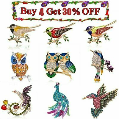Fashion Animals Bird Owl Swallow Crystal Ename Brooch Pin Women Party Jewellery