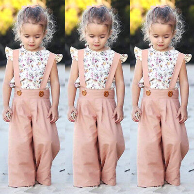 US Toddler Infant Kids Baby Girl Floral Tops+Bib Pants Overalls Outfits Sunsuit