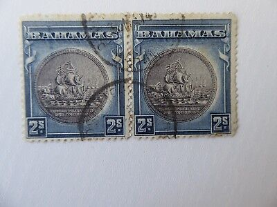 Bahamas 1943 2 shillings pair used