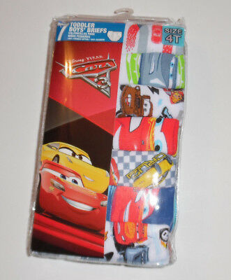 Cars 3 Underwear 7 Pack Mater McQueen Disney Cotton Briefs Boys Toddler 4T NIP