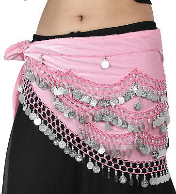 12 Pc Assorted ATS Belly Dance Velvet Hip Scarf Coin Belt on Auction Sale