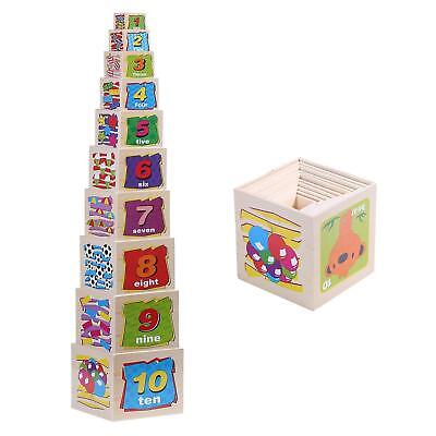 Wooden Nesting Blocks Stacking Cube Boxes Educational Toys Kids Children Games