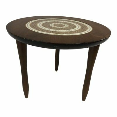 Vintage TILE TOP TABLE round side end Mid Century Modern wood danish dunbar 60s