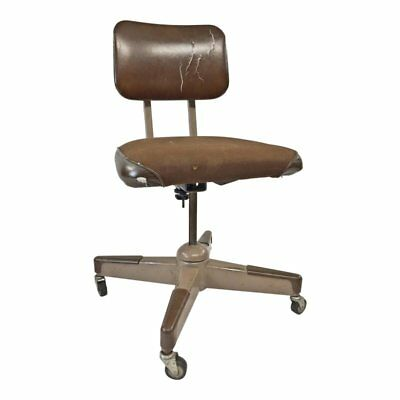 Mid Century Modern OFFICE CHAIR desk swivel vintage industrial brown rolling mod