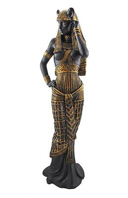 Pretty Black Ancient Egyptian Goddess Bastet Cat Lady Deity Figurine Statue