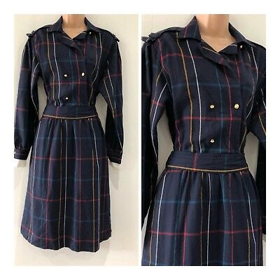 Vintage 80's Navy Blue Check Print Pure New Wool Belted Winter Day Dress 10-12