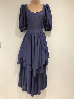 Vintage 80's Lovely Midnight Blue Layered Evening Xmas Party Dress Size 8-10