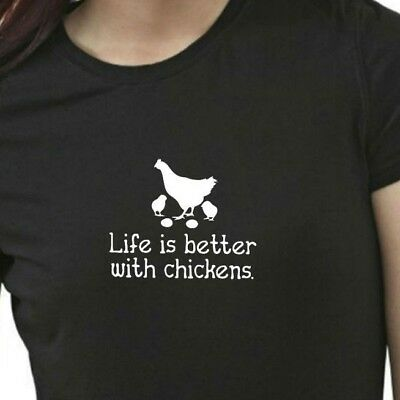b59b606b Funny Life Is Better with Chickens T-Shirt Womens Tee Family Farm Gift Mom  Pet