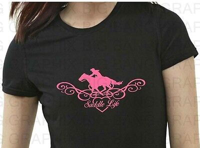 Funny Equestrian T Shirt Womens I love my Horse Cowgirl Up Riding Rider Saddle