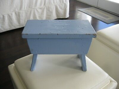 "Vintage Primitive 12"" Cricket Bench Wood Painted Blue Footstool Farmhouse Rustic"