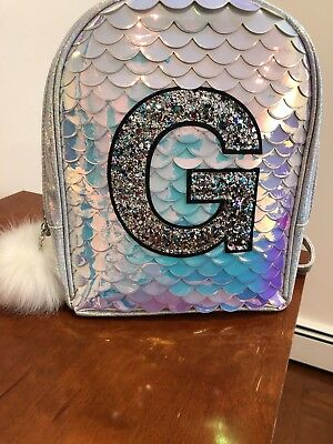 "NWT Justice Girls Mini Mermaid Backpack Initial ""G"" Name"