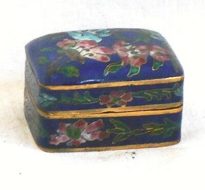 Chinese Cloisonne Hinged Trinket Box With Flowers