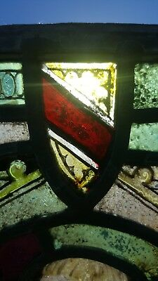 Antique Stained & Leaded Glass Window Panel figure w/ harp castle coat of arms