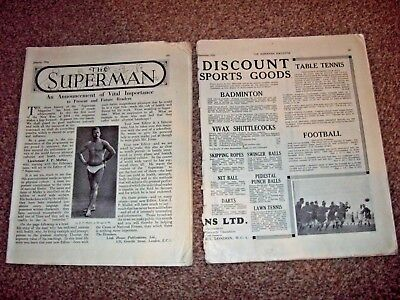 2 x The Superman Physical Culture Magazine December 1933 & Jan 1934 - Amazing!