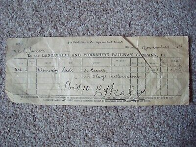 1913 Lancashire & Yorkshire Railway Company Invoice - Nice Old Document!