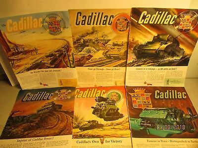 Lot Of Six Cadillac Tank/engine Wwii Ads