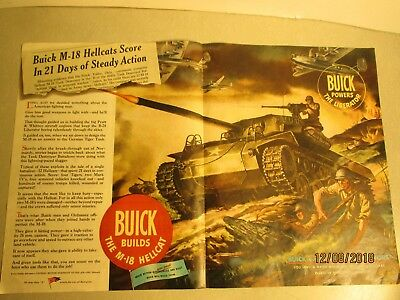 Wwii Ad;general Motors;buick M-18 Hellcat(The Liberator)Tank;double Page;nice!