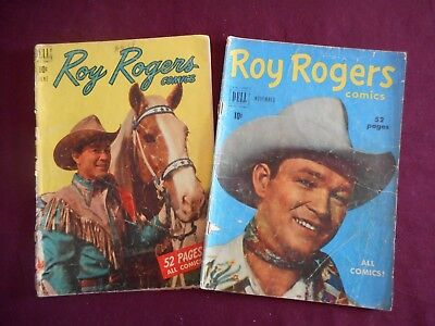 LOT of Roy Rogers comics, #30 & #35 (Dell, 1950), 10c Price tag, low grade FR/GD